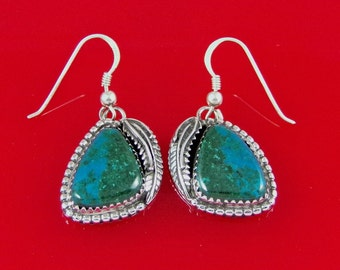 Malachite/Chrysocolla Dangle Earrings Sterling Silver Handmade, ER0137