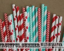 Multi design party straw set - FRUITFUL SUMMER - assorted red & turquoise bright color straws - 25pcs in 5 designs