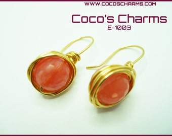 Salmon Sphere Earrings - E-1003