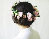 Flower Crown, Bridal Headpiece, Rose Circlet, Large Floral Halo, Woodland Wedding Hair Accessories, Midsummer Night's Dream, Pink