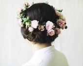 Flower Crown, Bridal Headpiece, Rose Circlet, Large Floral Halo, Woodland Wedding Hair Accessories, Midsummer Night's Dream, Pink