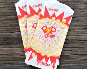 48 Vintage Popcorn Bags, Movie Night, Carnival Party, Birthday Party, Popcorn Bag