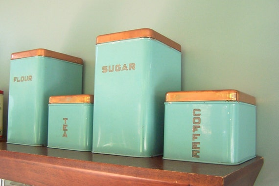 Copper Tea Coffee Sugar Canisters Flour Sugar Tea Coffee