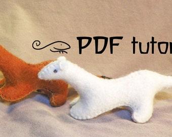 Mink, felt mink, hermelin, felt hermelin, mink pattern, mink tutorial, felt mink pattern, felt mink PDF, mink DIY, hermelin pattern