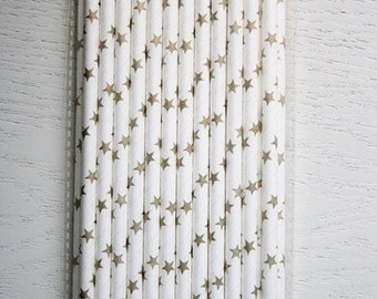 25 Paper Straws - Metallic Gold Stars