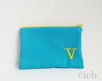 Monogrammed Makeup bag - Personalized Aqua Clutch - Bridesmaid clutches - Medium