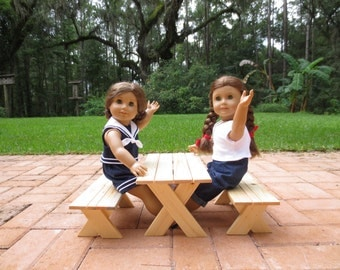 Doll PICNIC TABLE  Handrafted for American Girl® or 18-inch Dolls