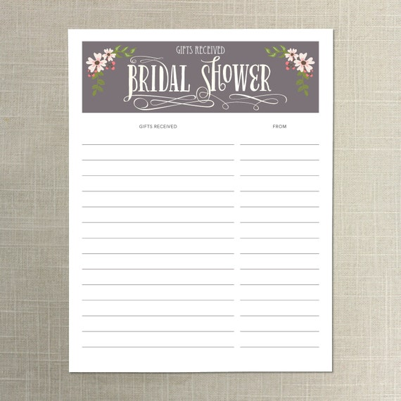 Message For Wedding Gift List : instant download bridal shower gift list gifts received of