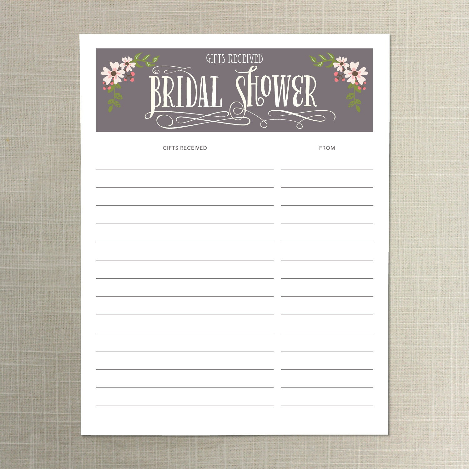 Bridal Shower Gift Record Template : Instant Download Bridal Shower Gift List Gifts Received