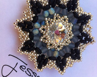 ENG /ITA  Pendant Superduo Pattern Beading Fairy Flower