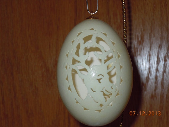 Christmas Tree Goose Egg Carved Ornament - Reindeer