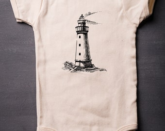 Lighthouse - Baby Bodysuit - American Apparel - Organic Cotton - Boat - Screen Printed - Baby Clothes - Sailing