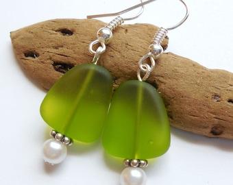 Lime Green Sea Glass Earrings,Sea Glass Jewelry,Seaglass Earrings,Seaglass Jewelry,Beach Glass Jewelry,Beach Glass Earrings. Free U.S.Ship.