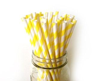 Lemon Yellow Striped Paper Straws (25)