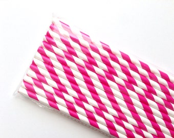 Hot Pink Striped Paper Straws, Barber Shop Style (25)