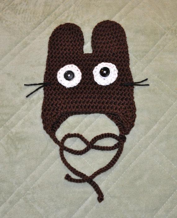 Amigurumi Earflap Hat : CHOCOLATE BROWN BUNNY Hat Totoro Inspired Amigurumi Earflap