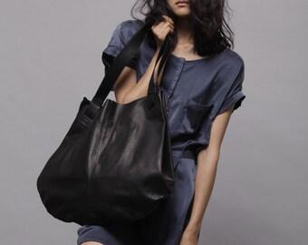 Handmade leather bags -Black leather bag- Soft leather bag - women Tote bag - Market bag - Carolina bag