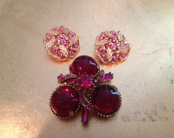 Vintage Ruby Red Brooch and Earrings