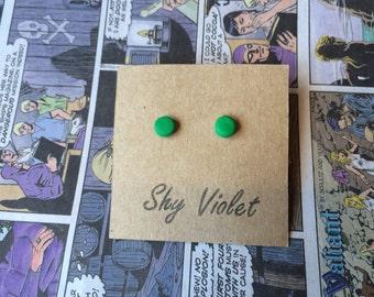 Green handmade polymer clay stud earrings