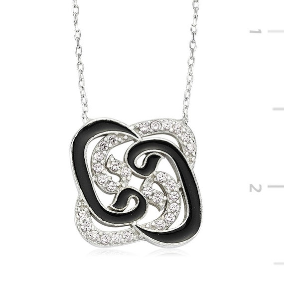 Arabic necklace arabic letter waw of love with cz by for Arabic letter necklace