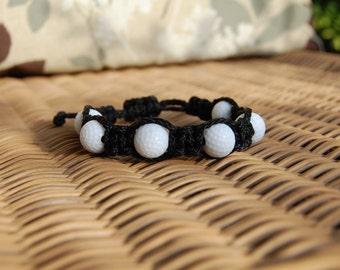 Black Bracelet with Golf Beads