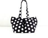 Women bag  Cotton bag Canvas Bag Diaper bag Shoulder bag Hobo bag Tote bag Purse Polka Dot bag Everyday bag - Black&White - Sophia