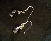 Faceted Garnet Gemstone pierced earrings set in gold