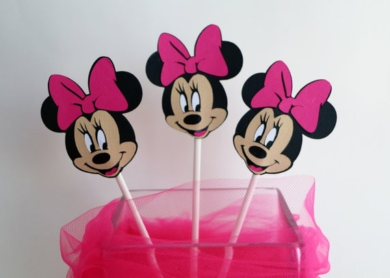 Minnie Mouse Birthday Cupcake Toppers in Hot Pink