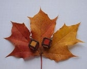 Autumn leaves, cube, geomtreic, cross sttitch, earrings - StitchyDragon