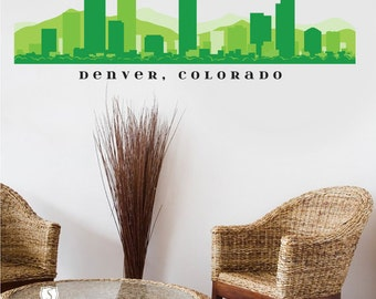 Denver colorado skyline wall decal art vinyl decal office for Real estate office wall decor