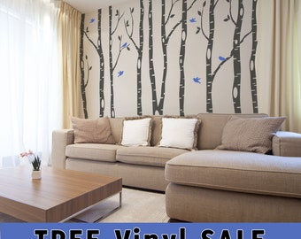 9 Birch Trees Wall Decal Forest Living Room 2 colors Birds Vinyl Sticker