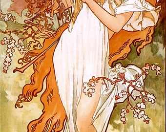 "Counted Cross Stitch Pattern ""Alphonse Mucha - Spring"""