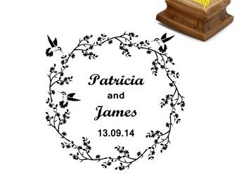 Wedding stamp, Custom wedding stamp, Personalized wedding stamp, Custom names and date stamp, Hummingbird flower wreath, 2x2 inches - W22