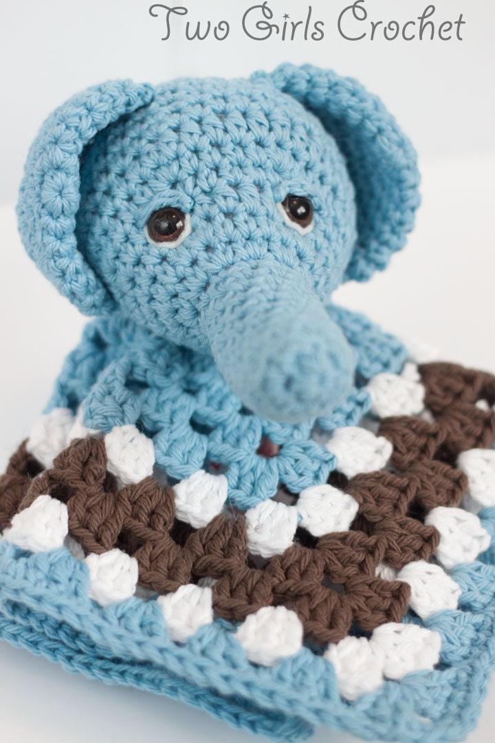 Elephant Crochet Security Blanket Elephant Lovey Baby - photo#38