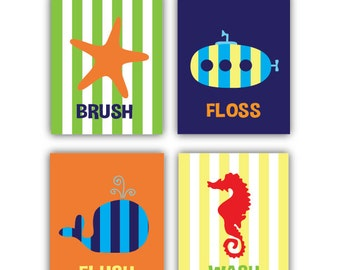 Exceptional Ocean Bathroom Decor // Kids // 8x10 And 11x14 Sea Life // Four