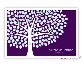 Wedding Tree Guestbook Poster // Digital PDF File // Choose ANY Colors // 150 Guests/Leaves // Winter Wedding Blue Purple White // Birds