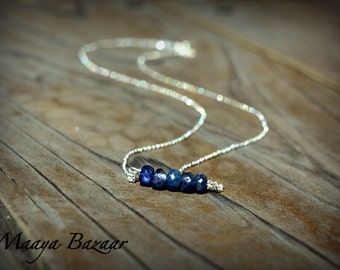 Sapphires Sterling Silver Necklace Gemstone necklace September Birthstone