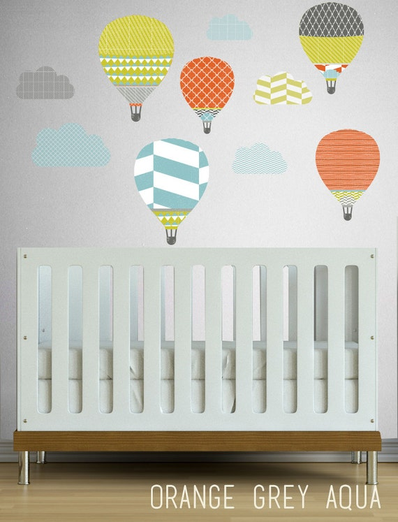 High in the Sky Hot Air Balloons  - WALL DECAL- Removable Wall Decal - Self Adhesive Vinyl
