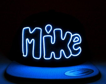 Light Up MIKE Hat made with El Wire in all colors; blue, green, orange, yellow, pink, purple, white