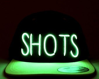 Light Up SHOTS Hat made with El Wire in all colors; blue, green, orange, yellow, pink, purple, white