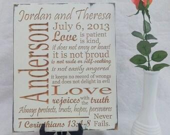 Personalized Wedding Plaque Gift 1 Corinthians 13
