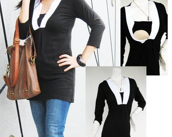 Maternity Clothes / Nursing Tops for Breastfeeding Top / LUCY New Blk/W / Nursing Clothes/ Pregnancy Clothes Maternity Clothing Shirt Tops