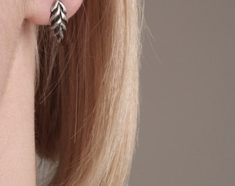 Ear of grain Stud Earrings. Oxidised or Whitened Sterling Silver. Inspired by Nature. Autumn treasures made in Latvia