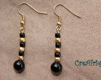Gold and Black Beaded Gong Earrings