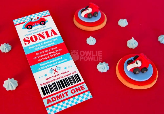 blue race car baby shower printable 2 5 x 7 inch ticket pass