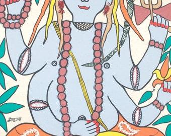 Shiva - Original Nepalese Madhubani painting on handmade paper