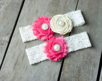 Ivory and Pink Wedding Garter Set, Bridal Garter, Wedding Garter, Shabby Chic Garter, Satin Garter