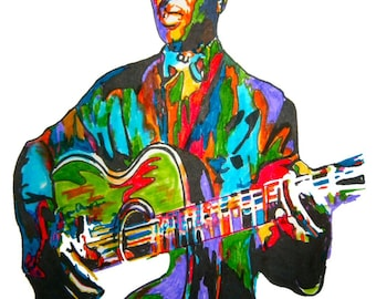 "Lead Belly: POSTER from Original Drawing 18"" x 24"" Signed & Dated by Artist w/COA"