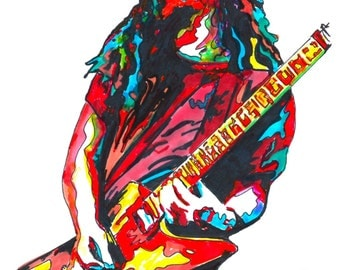 """Dimebag Darrell of Pantera: POSTER from Original Drawing 18"""" x 24"""" Signed & Dated by Artist w/COA"""
