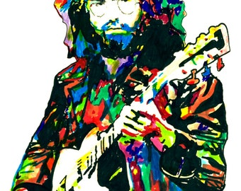 """Jerry Garcia of the Grateful Dead: POSTER from Original Drawing 18"""" x 24"""" Signed & Dated by Artist w/COA 3"""